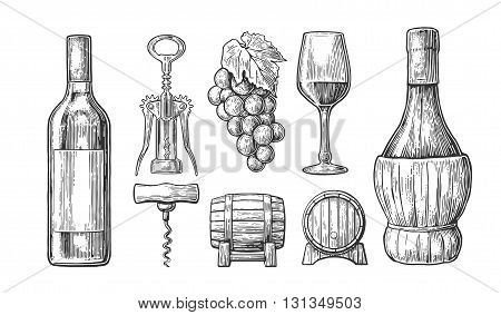 Wine set. Bottle glass corkscrew barrel bunch of grapes. Black vintage engraved vector illustration isolated on white background. For label poster web.