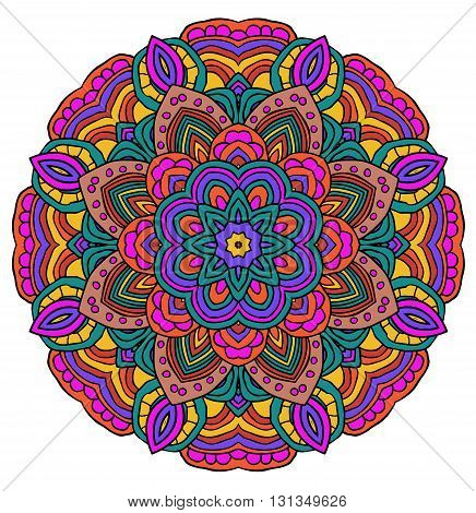 Round symmetrical pattern in yellow and violet colors. Mandala. Kaleidoscopic design. Mandala. Yoga.