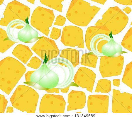 Food vector seamless pattern with many delicious slices of cheese and onion bulbs. Endless texture