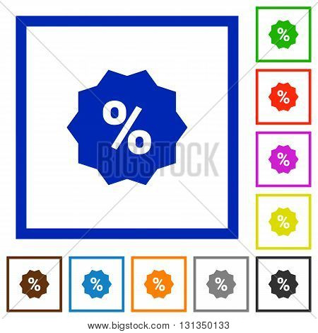 Set of color square framed Discount sticker flat icons