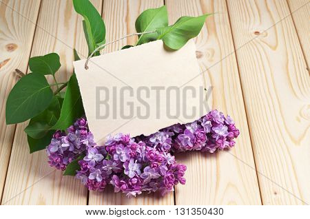 Postcard with violet lilac flowers on wooden table. Empty blank for your text
