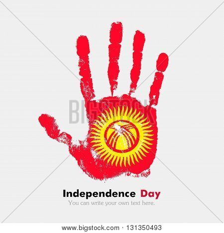 Hand print, which bears the Flag of Kyrgyzstan. Independence Day. Grunge style. Grungy hand print with the flag. Hand print and five fingers. Used as an icon, card, greeting, printed materials.