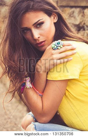 young urban summer girl portrait outdoor in the city closeup