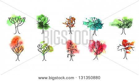 Stylized abstract trees on white