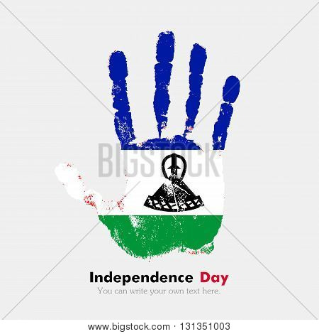 Hand print, which bears the Flag of Lesotho. Independence Day. Grunge style. Grungy hand print with the flag. Hand print and five fingers. Used as an icon, card, greeting, printed materials.
