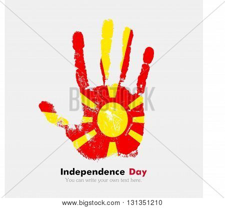 Hand print, which bears the Flag of Macedonia. Independence Day. Grunge style. Grungy hand print with the flag. Hand print and five fingers. Used as an icon, card, greeting, printed materials.