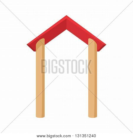 Arch gable vault icon in cartoon style on a white background