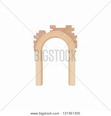 Brick semicircular arch icon in cartoon style on a white background