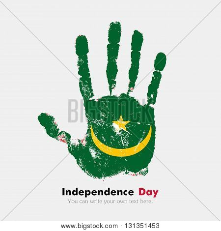 Hand print, which bears the Flag of Mauritania. Independence Day. Grunge style. Grungy hand print with the flag. Hand print and five fingers. Used as an icon, card, greeting, printed materials.