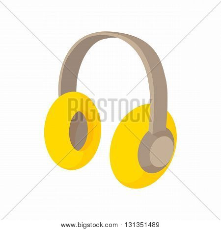 Yellow protective headphones icon in cartoon style on a white background