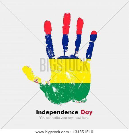 Hand print, which bears the Flag of Mauritius. Independence Day. Grunge style. Grungy hand print with the flag. Hand print and five fingers. Used as an icon, card, greeting, printed materials.