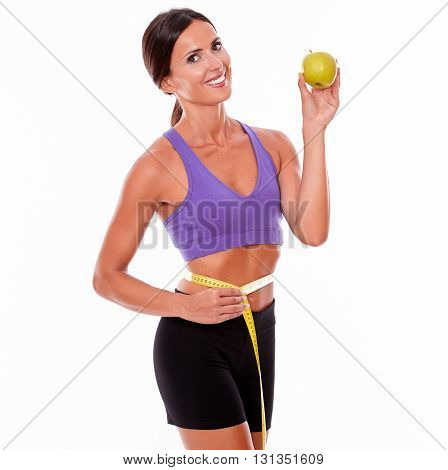 Healthy Smiling Brunette Holding An Apple