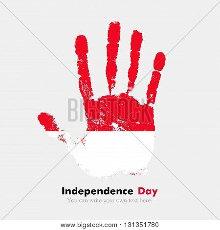 Hand print, which bears the Flag of Monaco. Independence Day. Grunge style. Grungy hand print with the flag. Hand print and five fingers. Used as an icon, card, greeting, printed materials.
