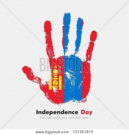 Hand print, which bears the Flag of Mongolia. Independence Day. Grunge style. Grungy hand print with the flag. Hand print and five fingers. Used as an icon, card, greeting, printed materials.