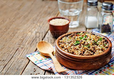 Lentils and rice with Crispy Onions and Parsley. Mujadara.