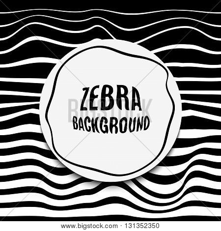 Striped background glitch. Black white zebra skin. Distortion contemporary noise bands. For trendy banners presentations flyers design.