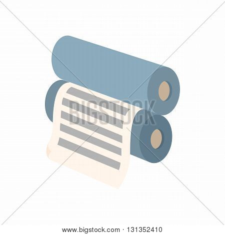 Two rollers with a paper between them icon in cartoon style on a white background