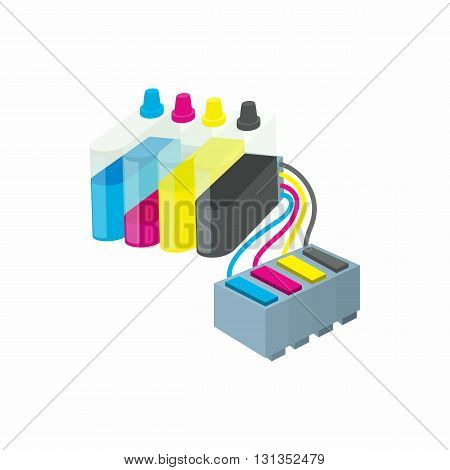 Cartridges for colour inkjet printer icon in cartoon style on a white background