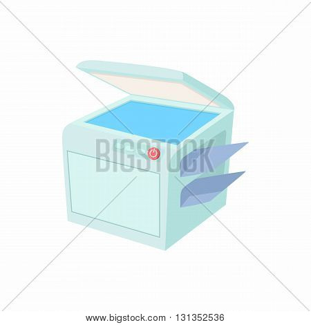 Multipurpose device, fax, copier and scanner icon in cartoon style on a white background