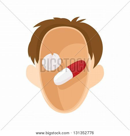 Pills in human head icon in cartoon style on a white background