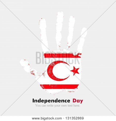 Hand print, which bears the Flag of Northern Cyprus. Independence Day. Grunge style. Grungy hand print with the flag. Hand print and five fingers. Used as an icon, card, greeting, printed materials.
