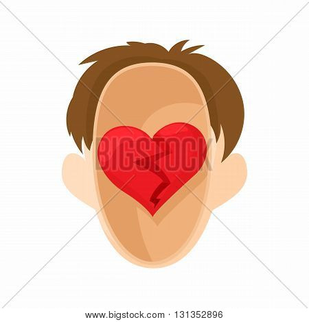 Red heart in the head icon in cartoon style on a white background