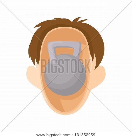 Head with kettlebell icon in cartoon style on a white background