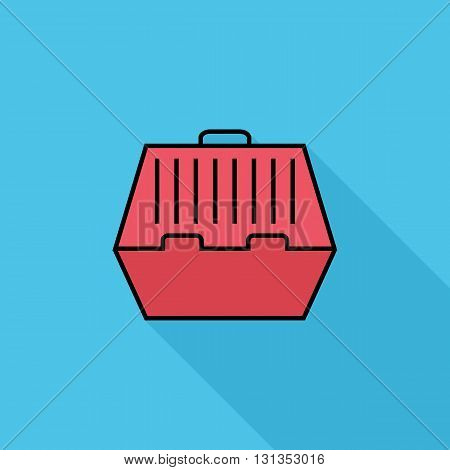 Pet carrier icon. Flat vector related icon with long shadow for web and mobile applications. It can be used as - logo, pictogram, icon, infographic element. Vector Illustration.