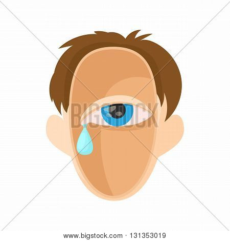 Head with eye crying icon in cartoon style on a white background