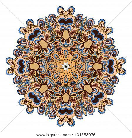 Colored vector mandala. Can be used as deciration, seal, background pattern.