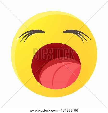 Yawing emoticon icon in cartoon style on a white background