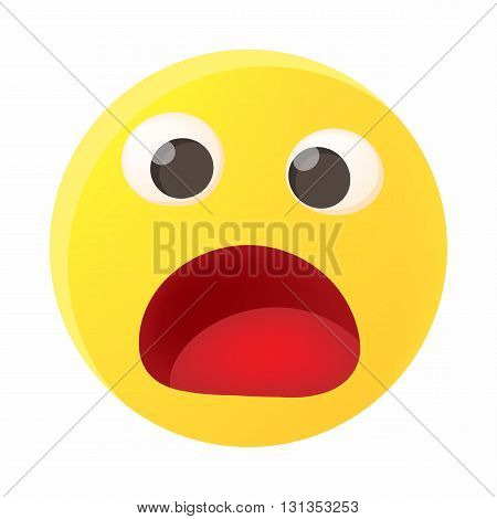 Frightened emoticon with open mouth icon in cartoon style on a white background