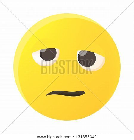Confused emoticon icon in cartoon style on a white background