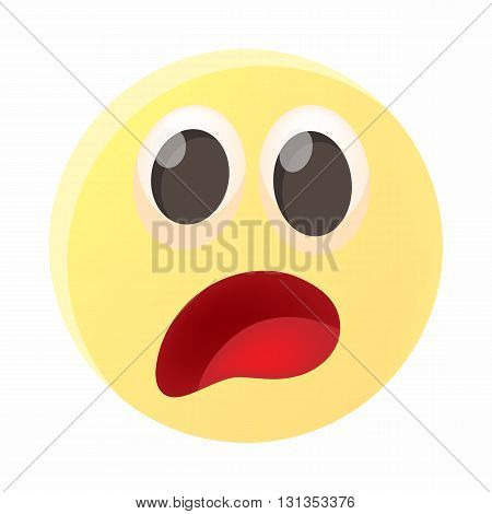 Frightened emoticon icon in cartoon style on a white background