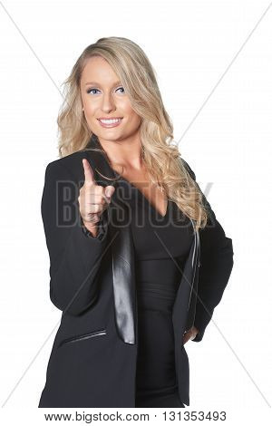 Beautiful Blond Busines Woman Pointing Finger, Isolated On White