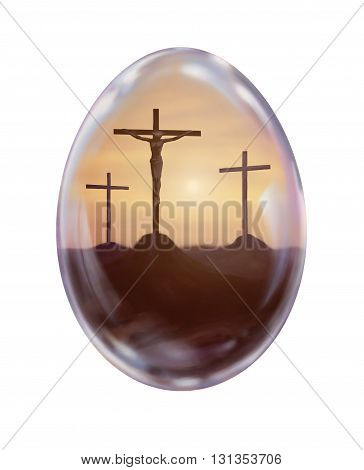 Crucifixion Easter egg illustration Eggs for Happy Easter
