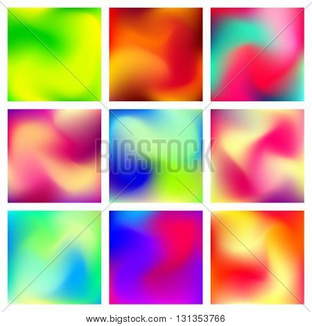 Abstract blur gradient backgrounds set with trend red, orange, yellow, blue, green and purple colors for deign concepts, business presentations, web and prints. Vector illustration