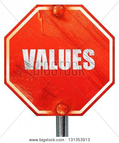 values, 3D rendering, a red stop sign