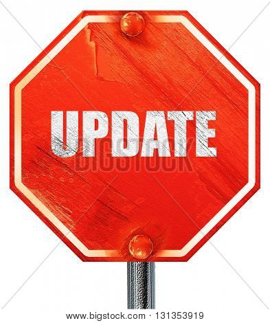 update sign background, 3D rendering, a red stop sign