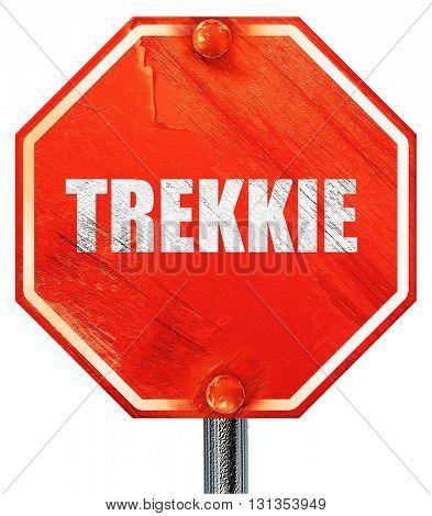 trekkie, 3D rendering, a red stop sign