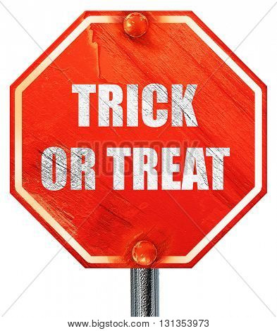 trick or treat, 3D rendering, a red stop sign