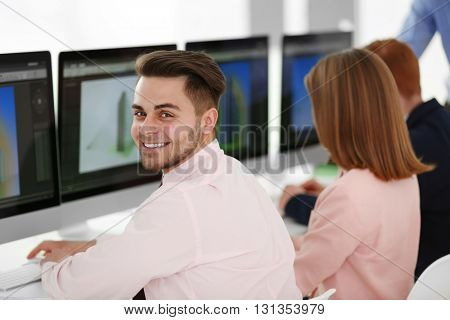 Young engineer working in the office