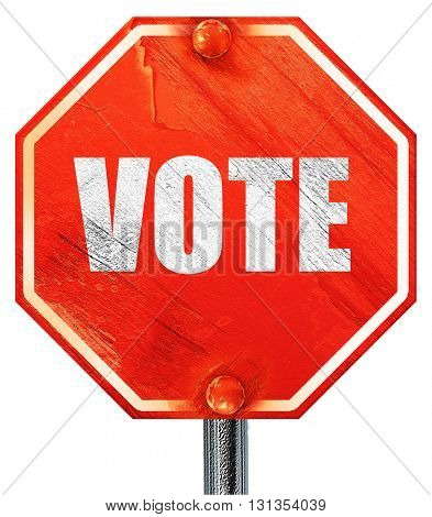 vote, 3D rendering, a red stop sign