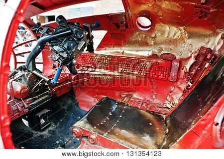 Podol, Ukraine - May 19, 2016: Interior And Dashboard Of Cabine Pilot Handmade Space Flying Machine