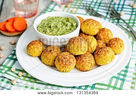 chickpeas carrots cilantro bites with pesto sauce