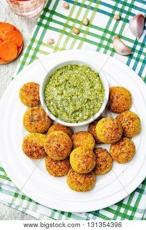 pesto sauce with chickpeas carrots cilantro bites