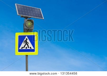 Traffic light traffic signs powered by solar panels