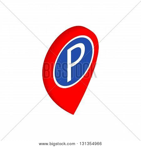 Illuminated sign pointing for parking icon in isometric 3d style isolated on white background. Transport and service symbol