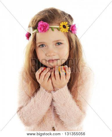 Little girl holding Easter eggs isolated on white