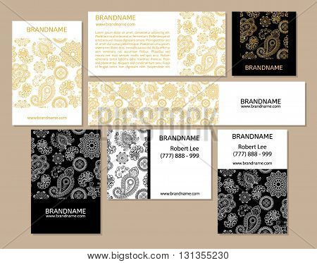 Vector set of business cards flayers banners with oriental pattern. Paisley and mandala. Modern abstract style Indian Arabic Islam motifs. Vintage design elements. White gold black color.